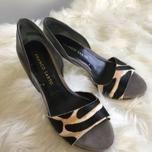 Franco Sarto Animal Print & Grey Peep Toe